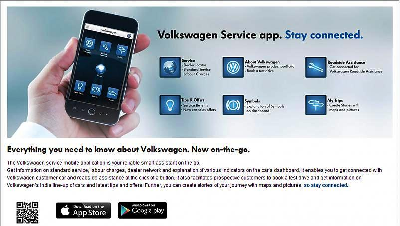 volkswagen india launches new in car service app. Black Bedroom Furniture Sets. Home Design Ideas