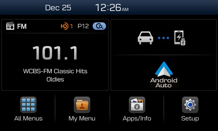 Hyundai dispaly audio system with android auto support
