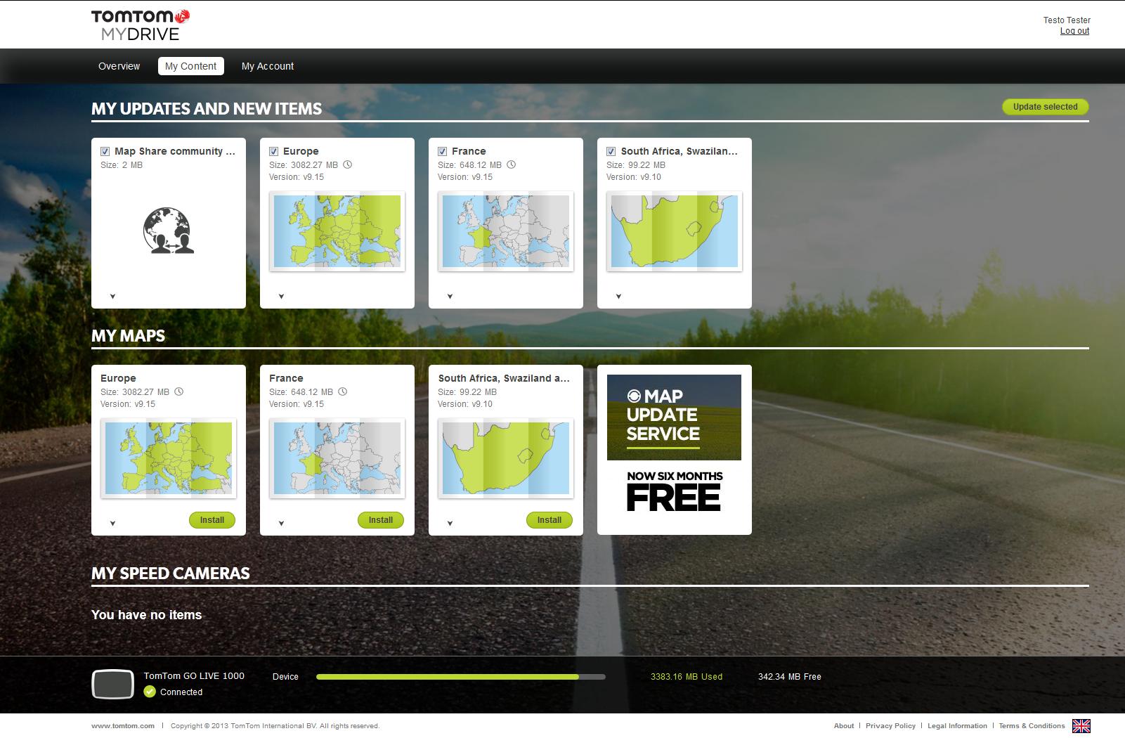 TomTom MyDrive Synchronisation platform