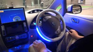 Nissan LEAF at CEATEC Japan 2013 demonstrating Autonomous Drive
