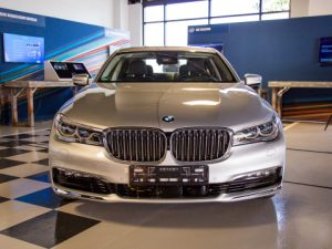 BMW displays one of the first of approximately 40 highly automated vehicles that were announced by BMW, Intel and Mobileye during a one-day autonomous driving workshop on Wednesday, May 3, 2017, at Intel's Silicon Valley Center for Autonomous Driving in San Jose, California.
