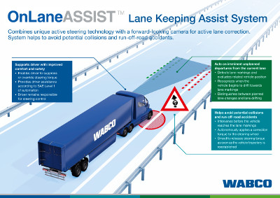 WABCO introduces OnLaneASSIST, a safety technology for heavy- and medium-duty trucks and buses