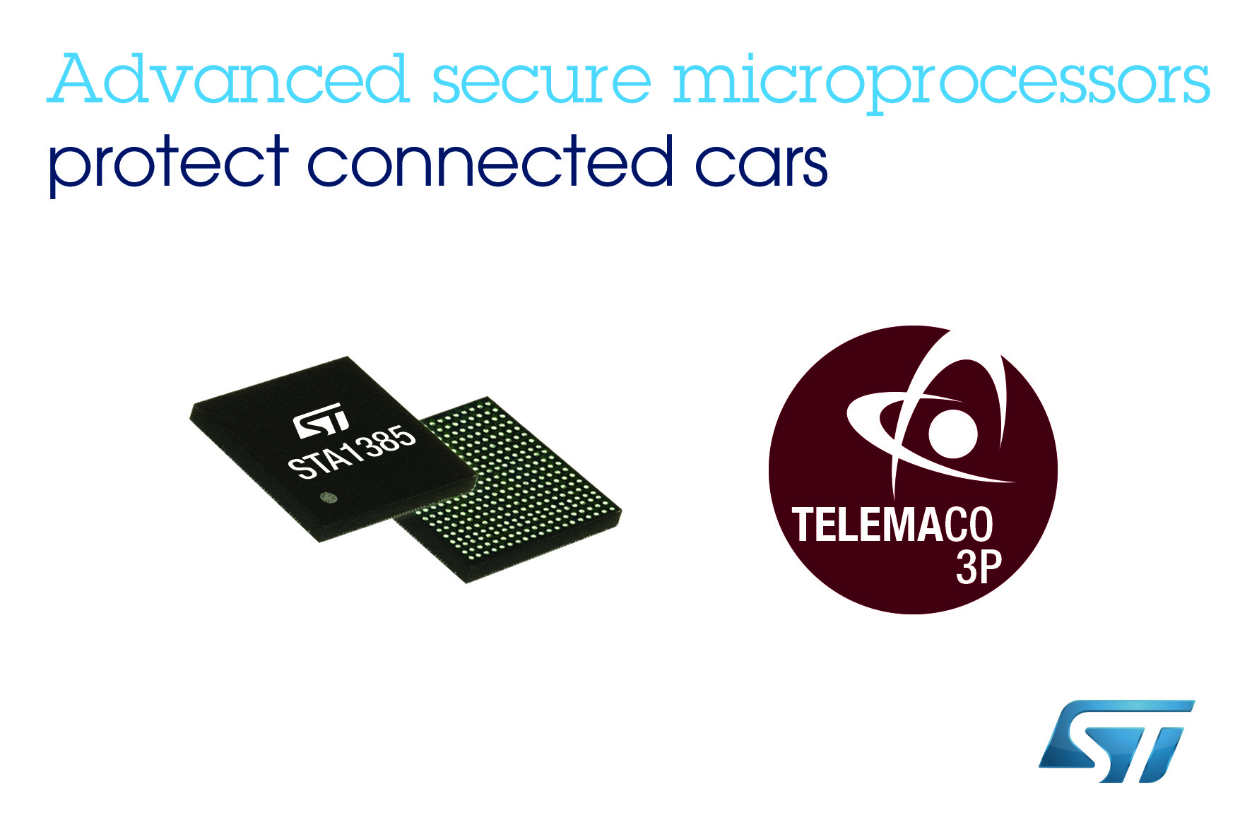 Advanced automotive processors from STMicoelectronics with built-in security to protect connected cars against cyber threats