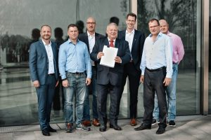 The representatives of the founding members of the Open-LR association (from left to right): Oliver Jesorsky, Elektrobit; Sven Baselau and Klaus Lütkemeier, TomTom; Thomas Kusche-Knecevic, TISA; Tobias Engelen, Elektrobit; Ralf-Peter Schäfer and Andreas Erwig. TomTom Image source: Elektrobit (PRNewsfoto/OpenLR e.V.)