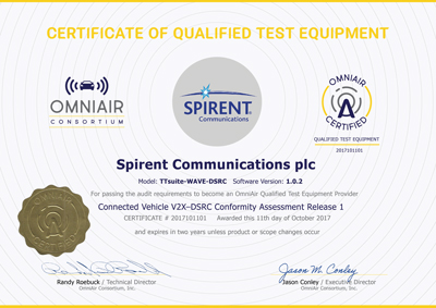 Spirent s' V2X completed the qualification process as OmniAir Qualified Test Equipment for WAVE-DSRC compliance certification